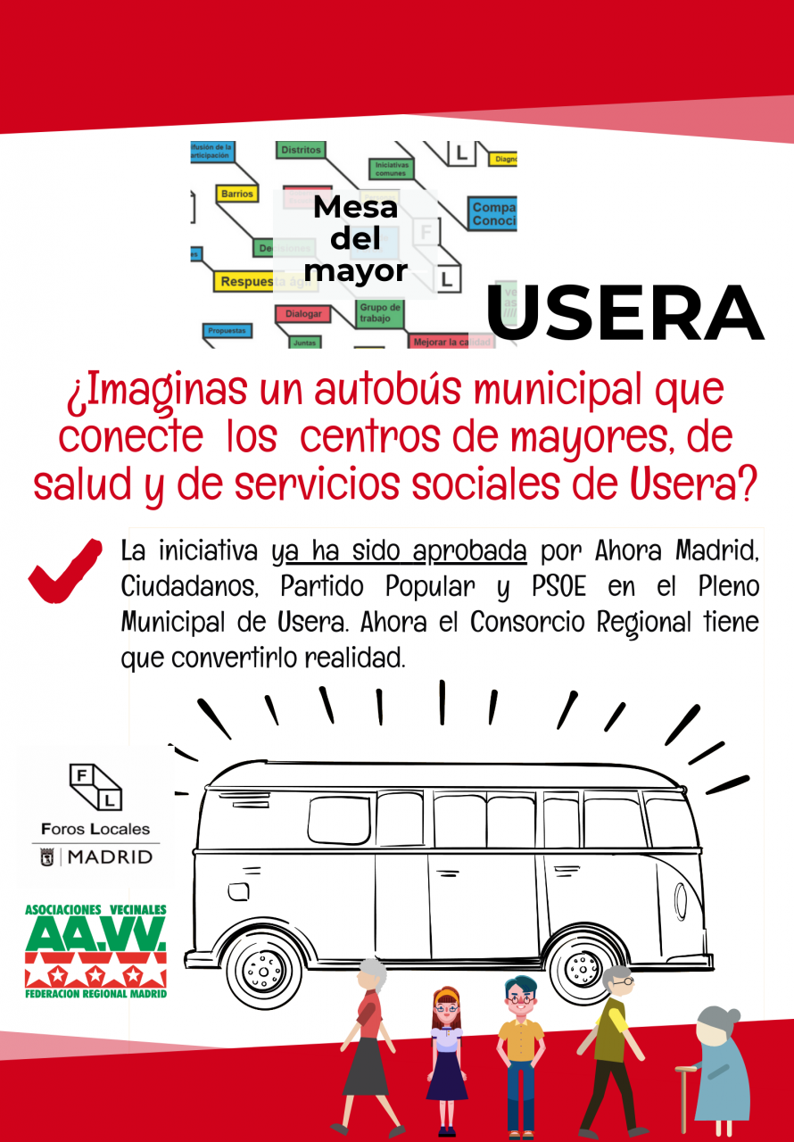 Cartel bus de mayores Usera