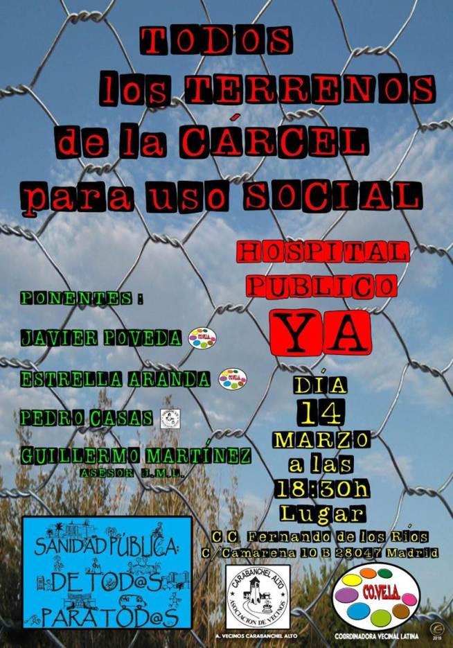 Cartel charla hospital en terrenos carcel de Carabanchel