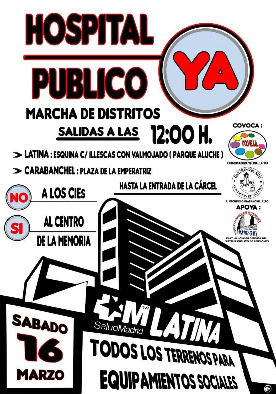 Cartel manifestación hospital en terrenos carcel de Carabanchel