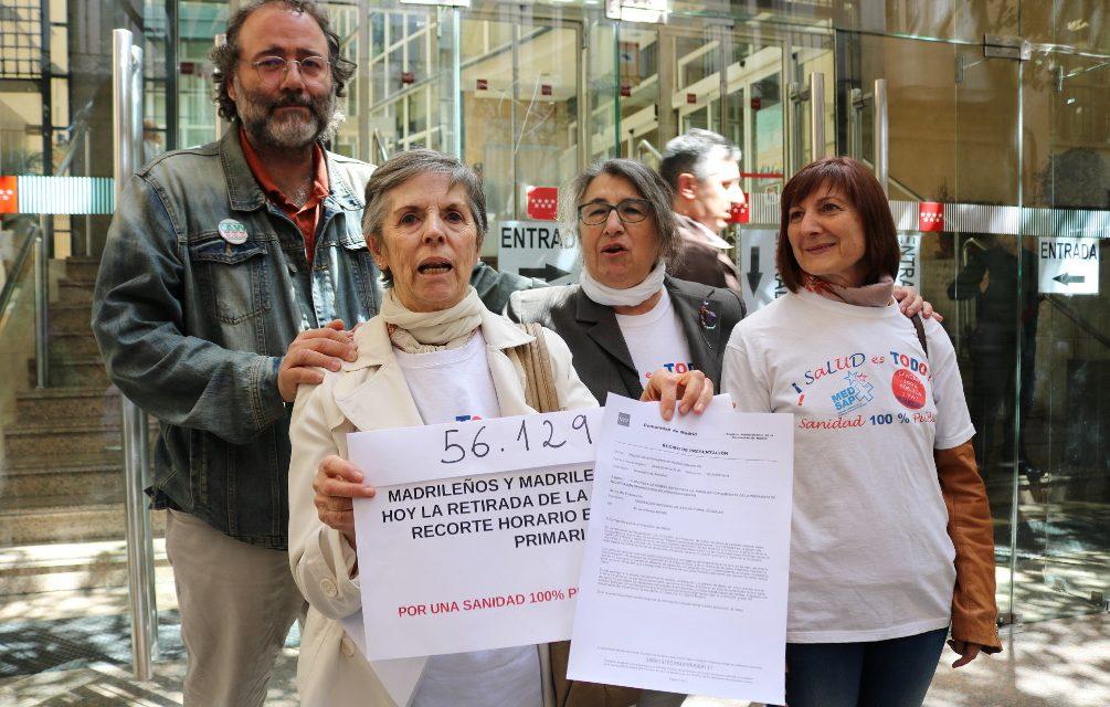 """56.129 madrileños y madrileñas dicen """"no"""" al recorte horario en Atención Primaria"""