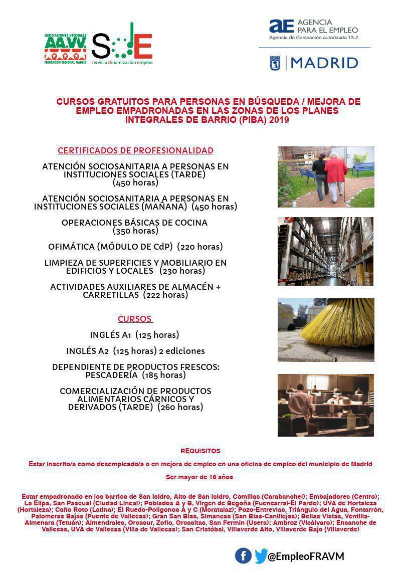 Cartel cursos Planes de Empleo de Barrio 2019