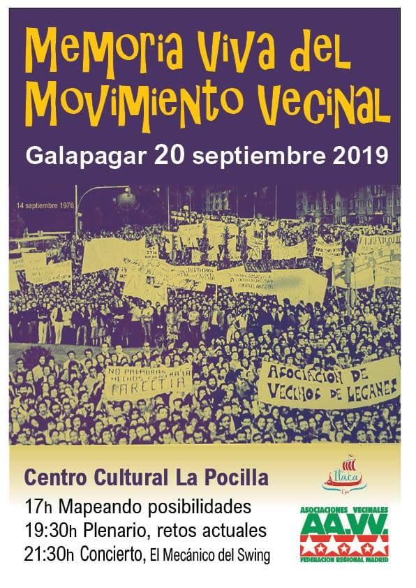 Cartel jornada movimiento vecinal Galapagar