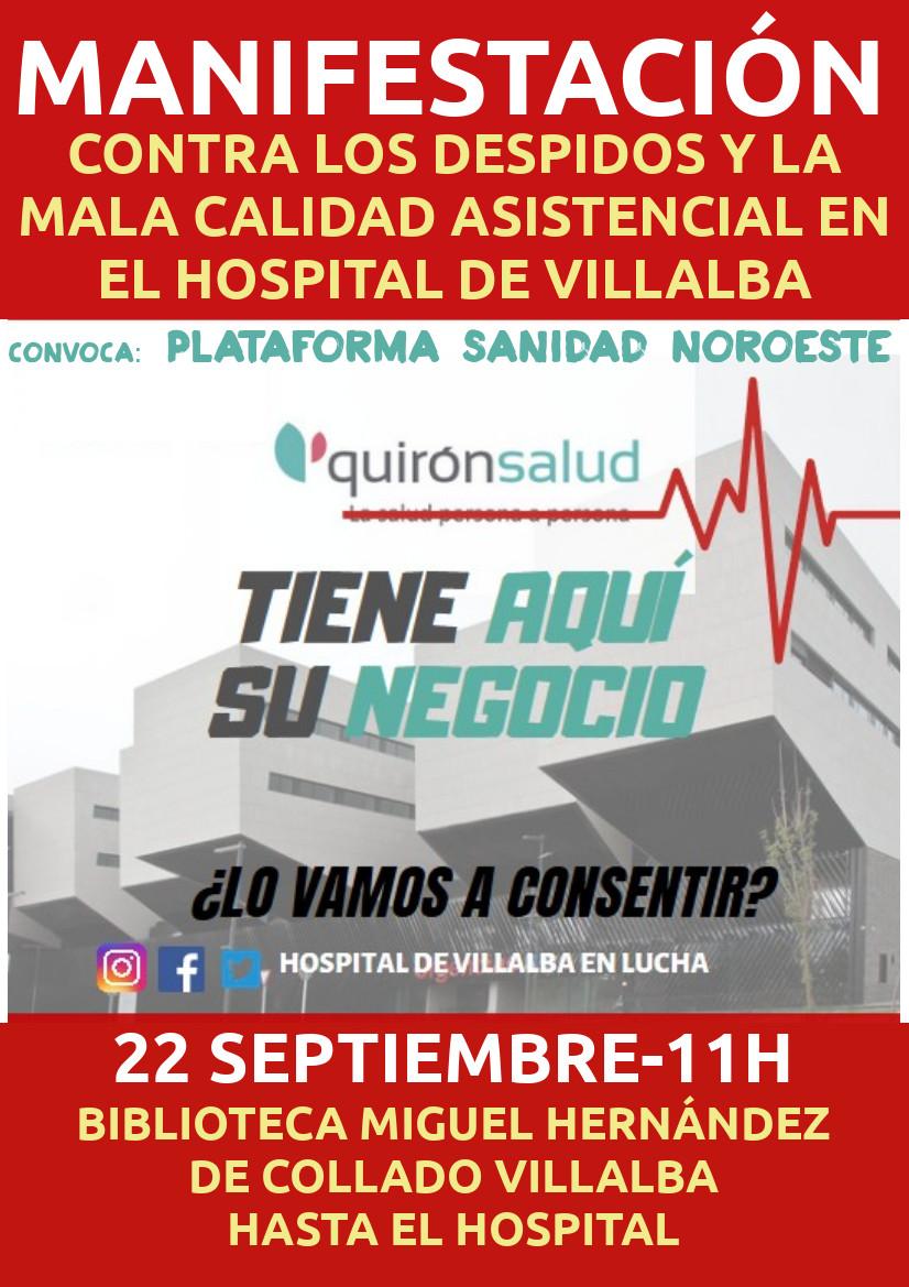 Cartel manifestación por el hospital de Villalba