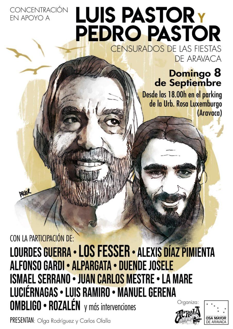 Cartel concentración de apoyo a Luis y Pedro Pastor