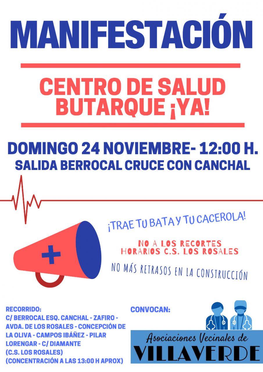 Cartel marcha por el centro de salud de Butarque