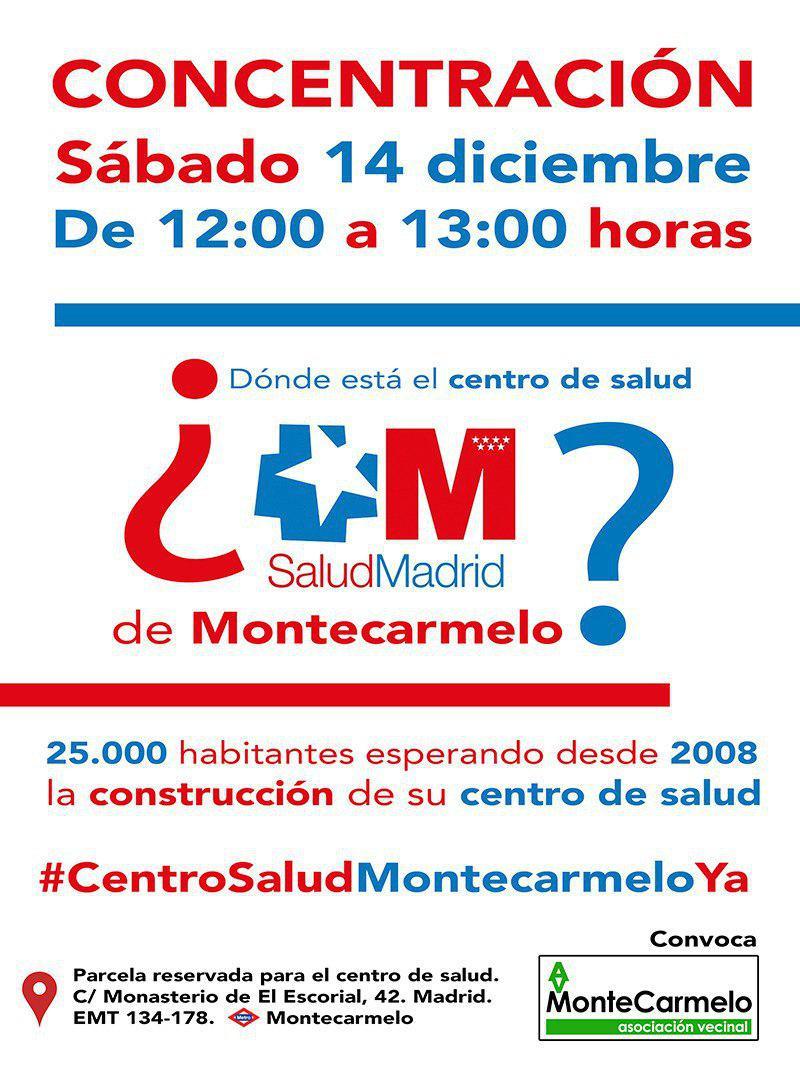 Cartel concentración centro de salud Montecarmelo