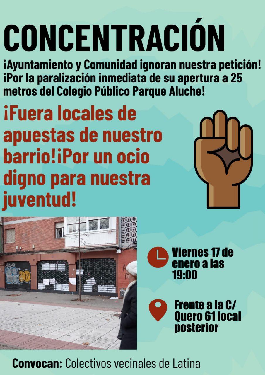 Cartel concentración contra las casas de apuestas Aluche
