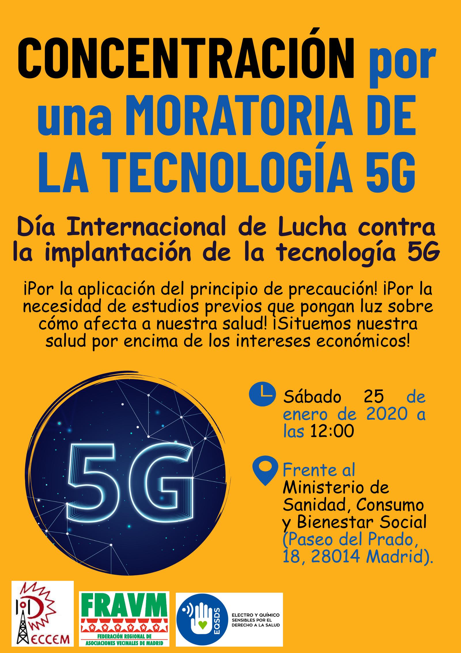 Cartel concentración por una moratoria 5G