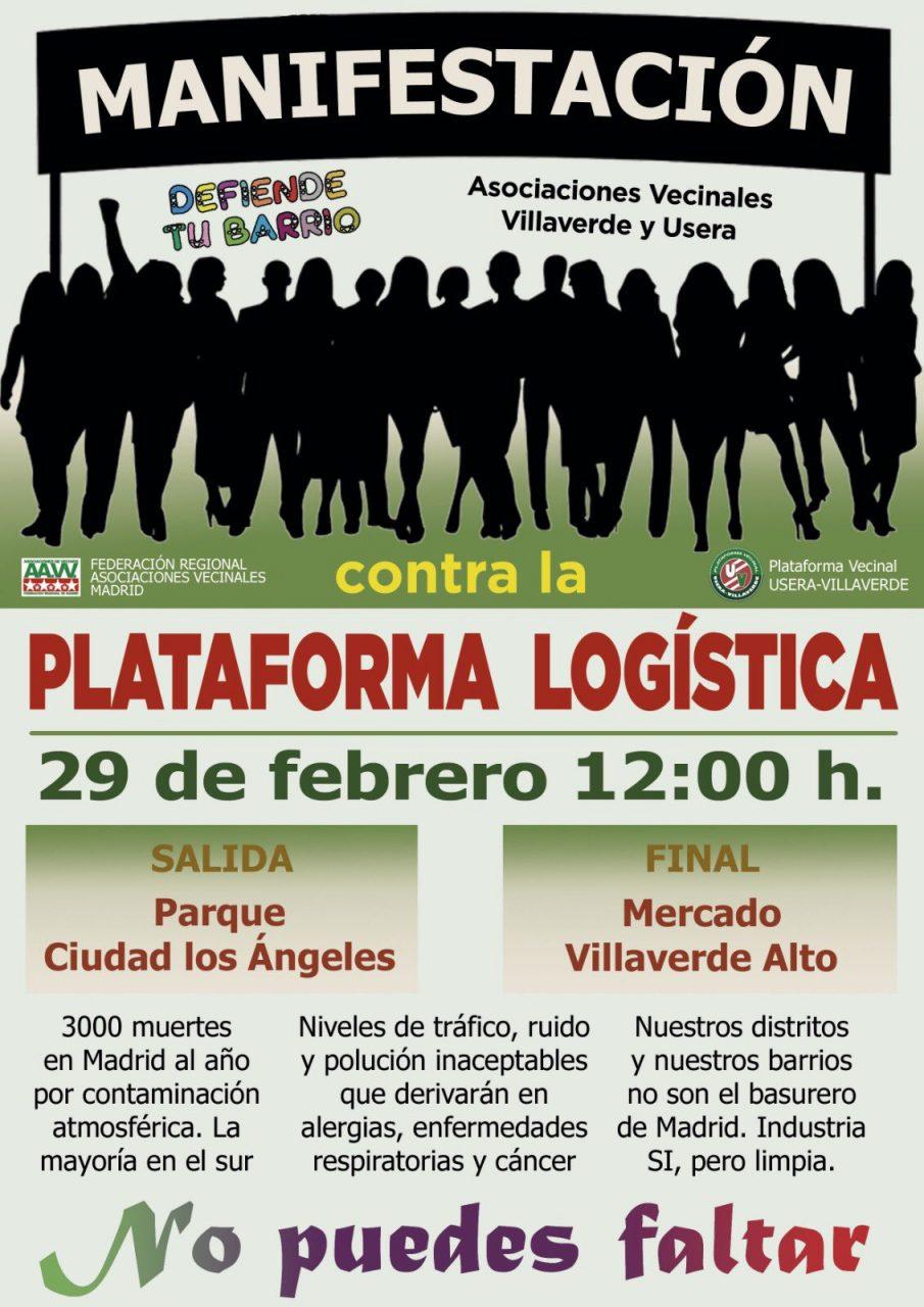 Cartel manifestación contra la Planta Logística Villaverde