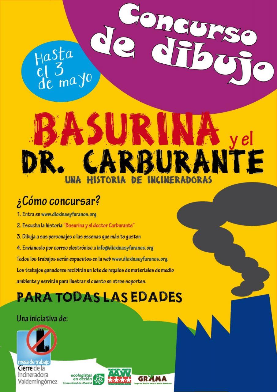 Cartel concurso de dibujo Basurina y el Dtor. Carburante