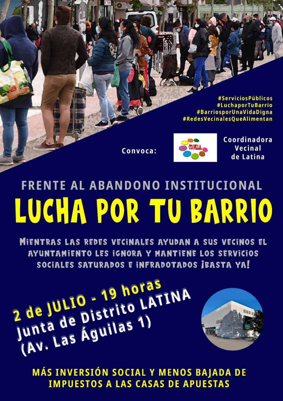 Cartel concentración redes vecinales Junta de Latina