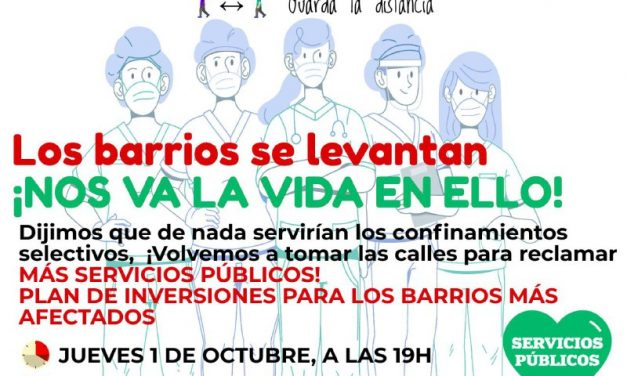 Los barrios vuelven a levantarse el 1 de octubre contra los confinamientos selectivos y para exigir más recursos públicos