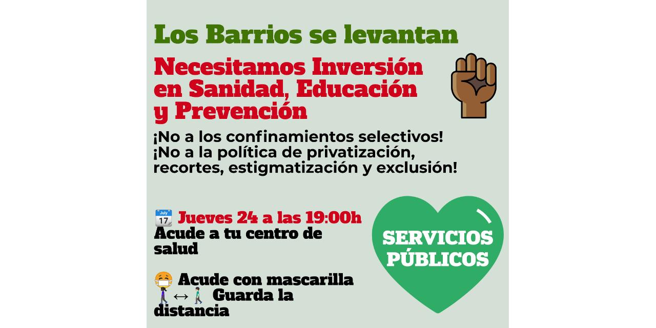 Jueves de protestas vecinales ante los centros de salud para pedir más inversión en sanidad y otros servicios públicos