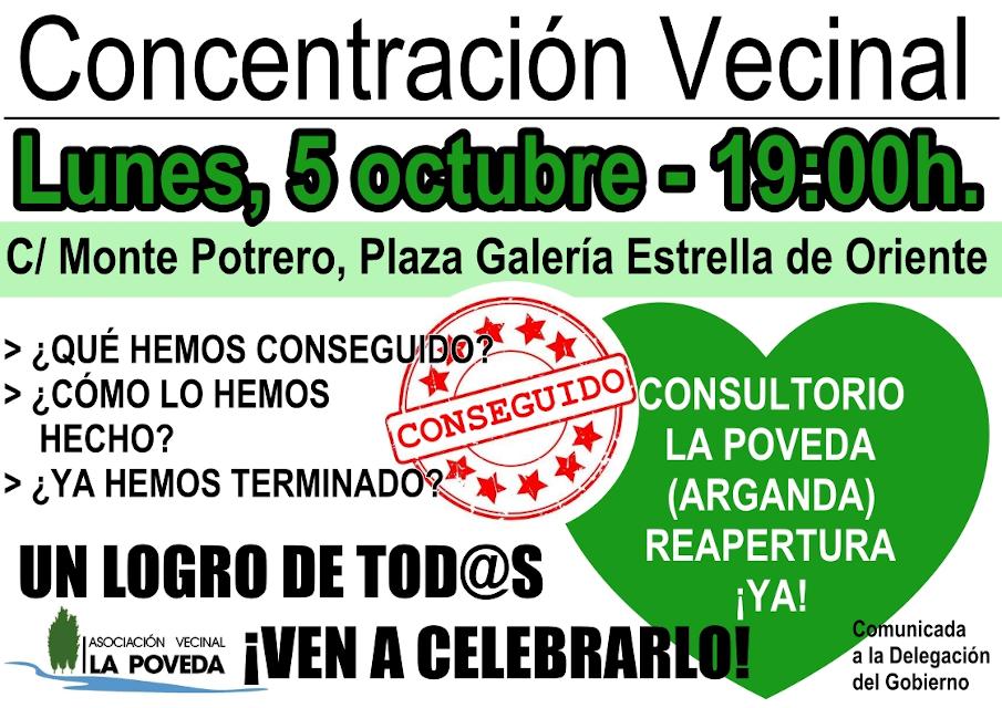 La vecindad de La Poveda celebra la reapertura de su consultorio tras seis meses y medio de movilizaciones