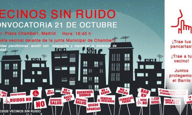 Protesta vecinal contra el ruido y la proliferación de terrazas en Chamberí