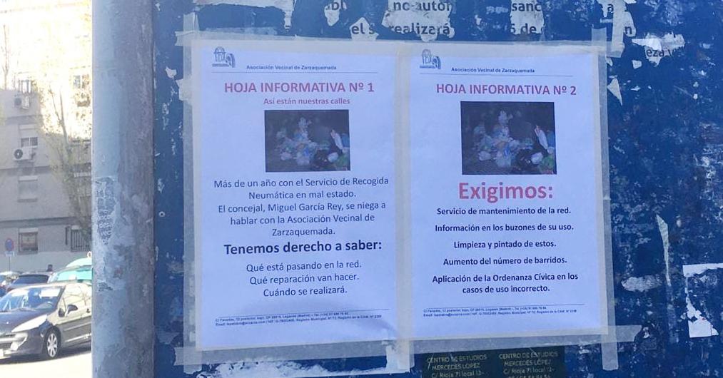 Más de un año con problemas en el servicio de recogida neumática de basura en Zarzaquemada (Leganés)