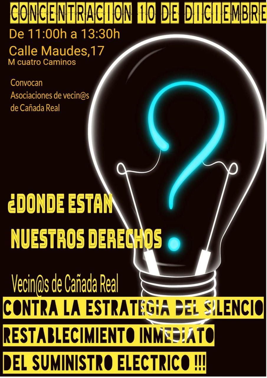 Cartel concentración por el restablecimiento de la luz en Cañada Real