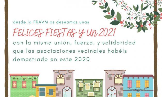 La FRAVM os desea unas felices fiestas y un 2021 de unidad y solidaridad vecinales
