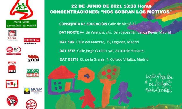 Martes de movilizaciones para que la Comunidad de Madrid mantenga las mismas ratios de alumnos por aula el próximo curso